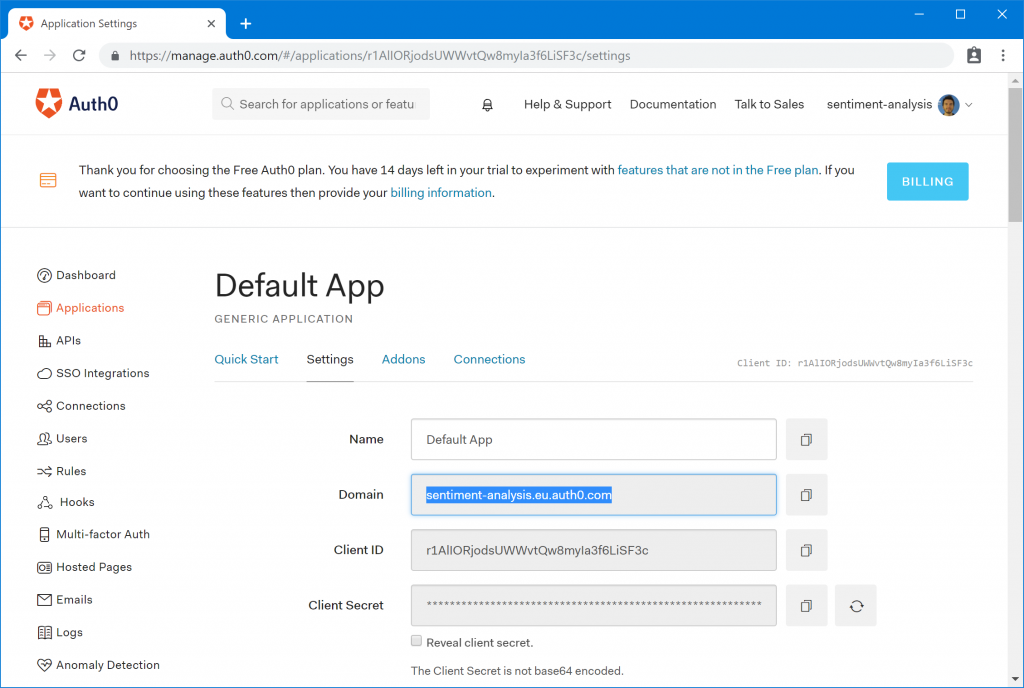 Figure 1. Default App in Auth0 management portal